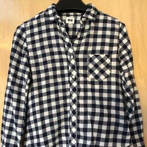Uniqlo Navy Flannel Gingham Women's Shirt